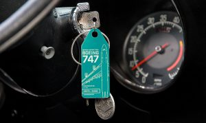 Aviationtag as a key-chain in a Corvette.