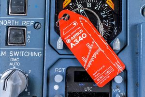Swiss Aviationtag in a Boeing 747 cockpit.